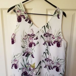White top with Purple flowers - super cute - lined